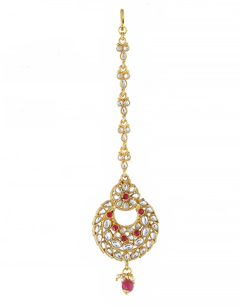 Pink Colour Gold Finish Antique Forehead Mang Tika