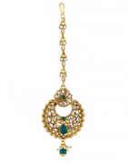 Green Colour Gold Finish Floral Design Mang Tika