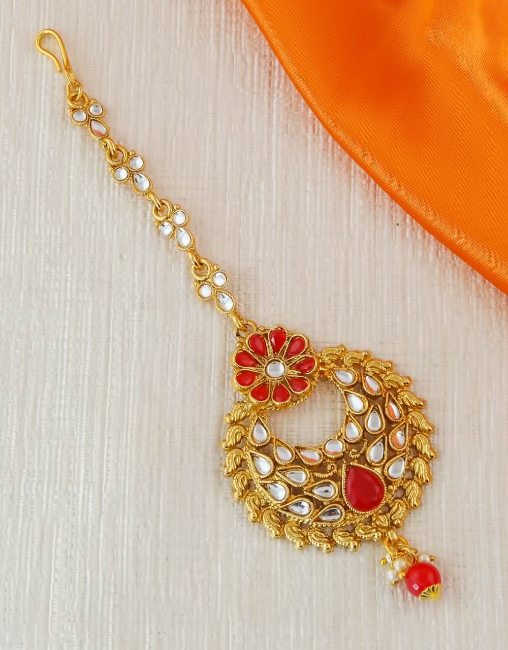 Red Colour Floral Design Traditional Mang Tika