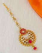Red Colour Floral Design Gold Finish Tikka Fancy