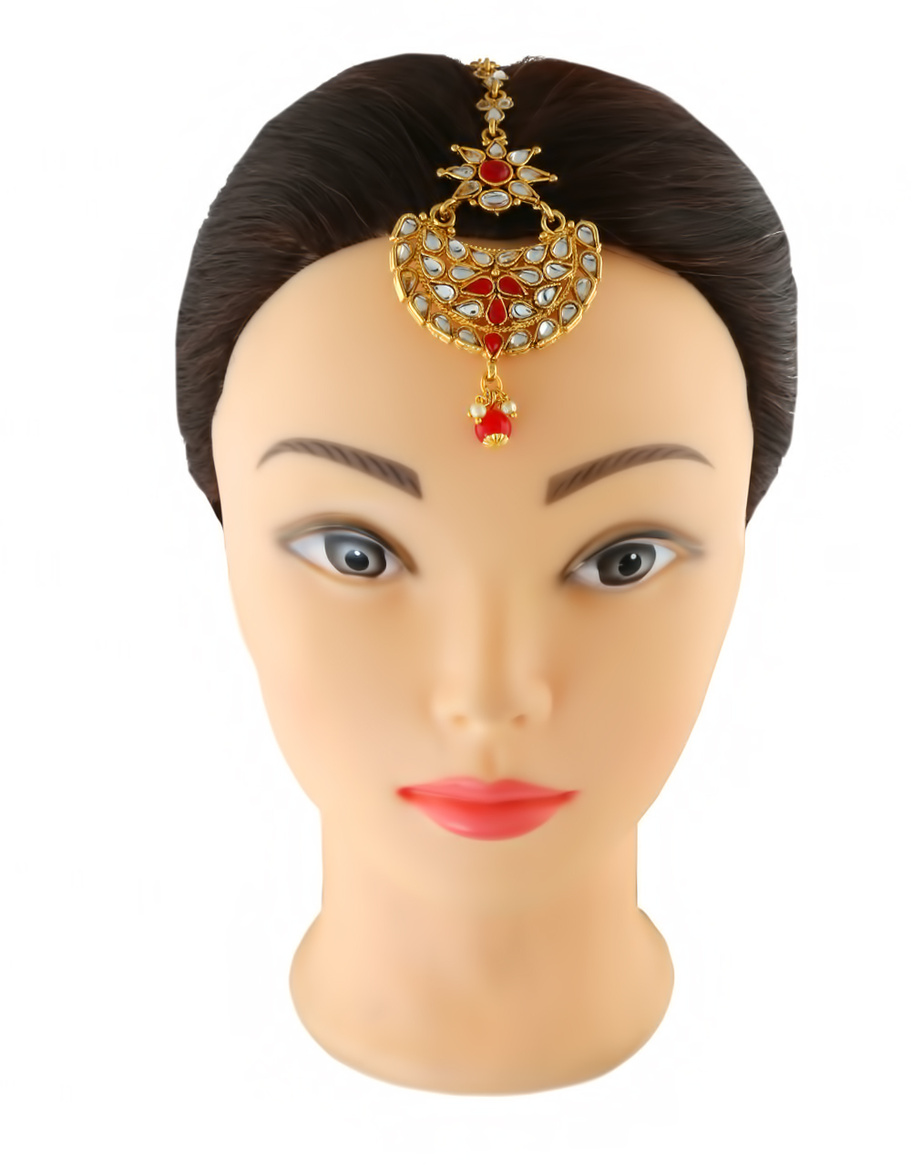Red Colour Gold Finish Fancy Forehead Jewellery