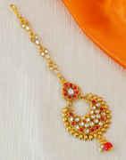 Red Colour Gold Finish Fashionable Maang Tikka
