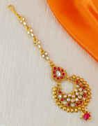 Pink Colour Fancy Gold Finish Tikka Jewellery