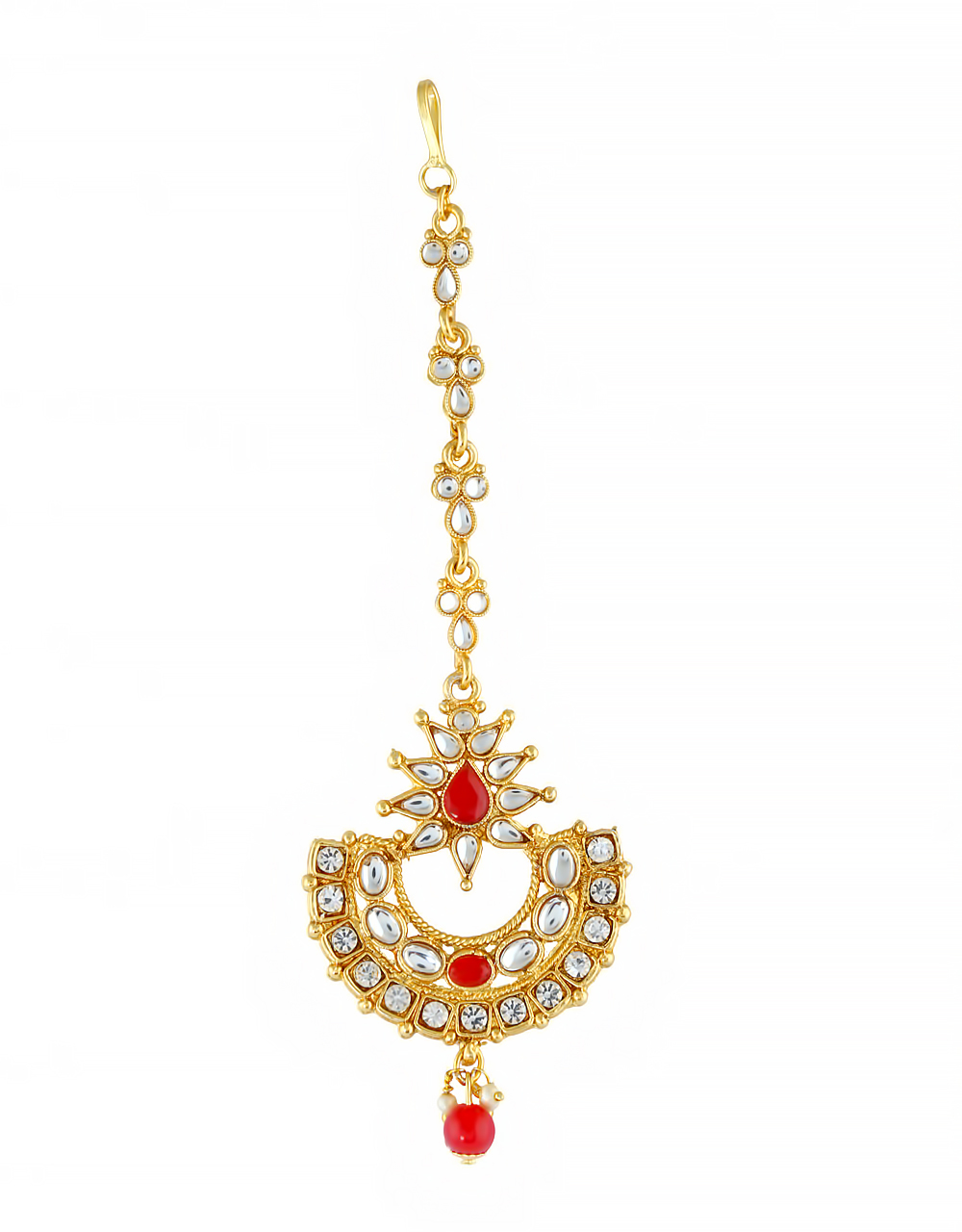 Red Colour Gold Finish Fancy Mang Tikka Jewellery