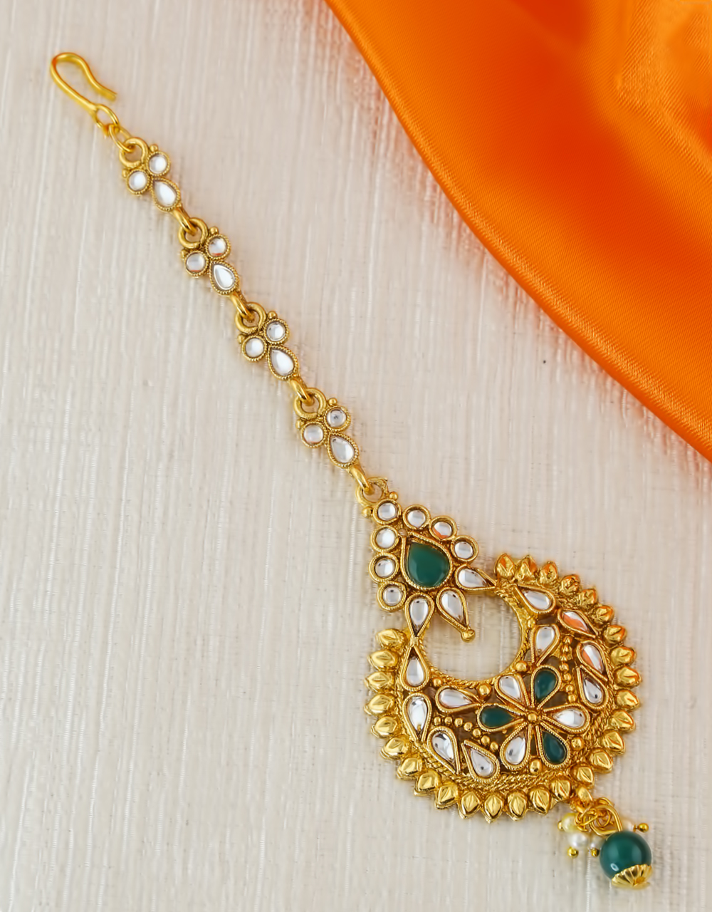 Green Colour Gold Finish Fancy Hair Jewellery