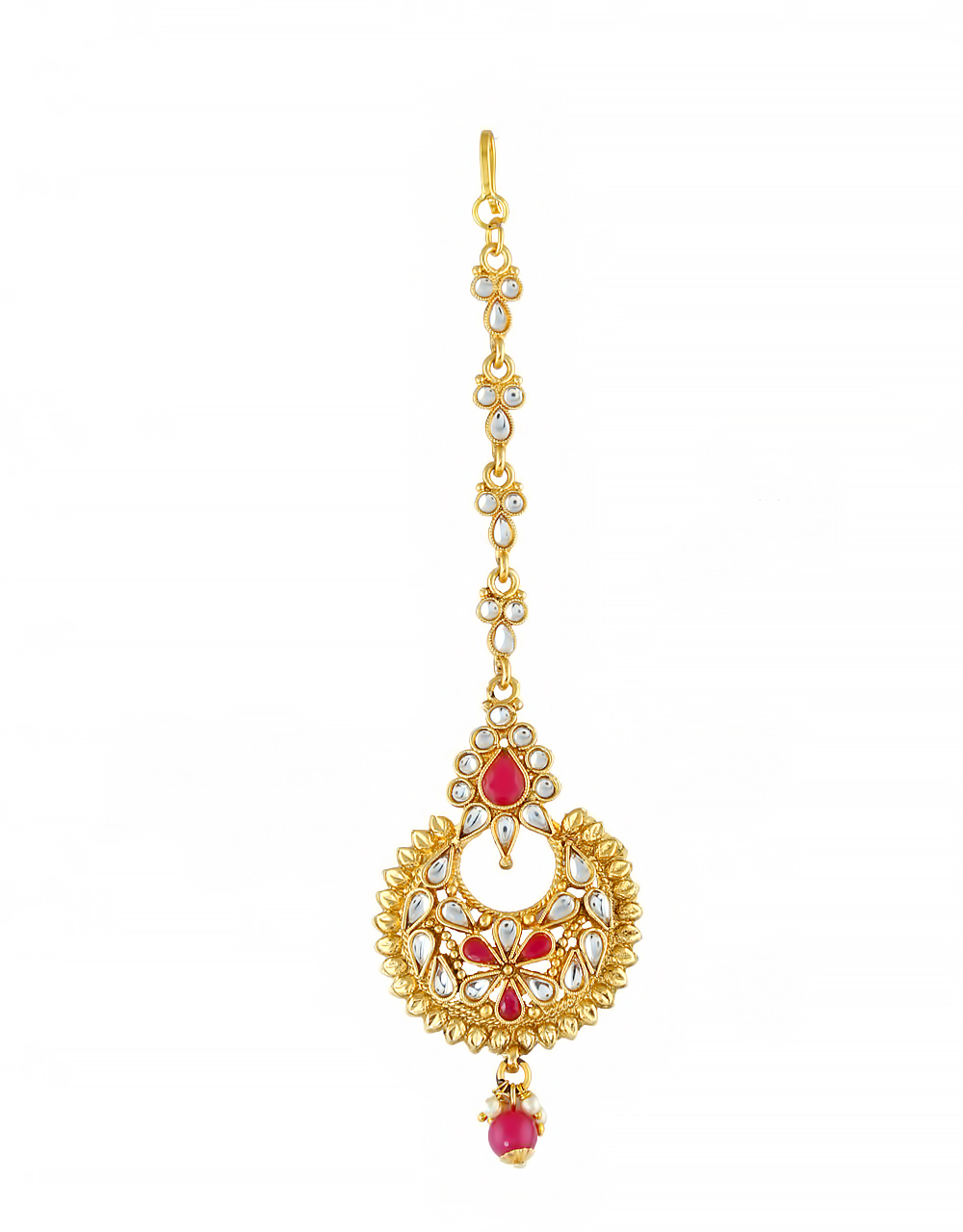 Pink Colour Gold Finish Traditional Maang Tikka Fancy