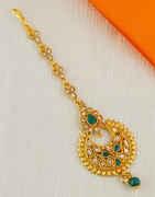 Green Colour Gold Finish Stunning Mang Tikka Fancy
