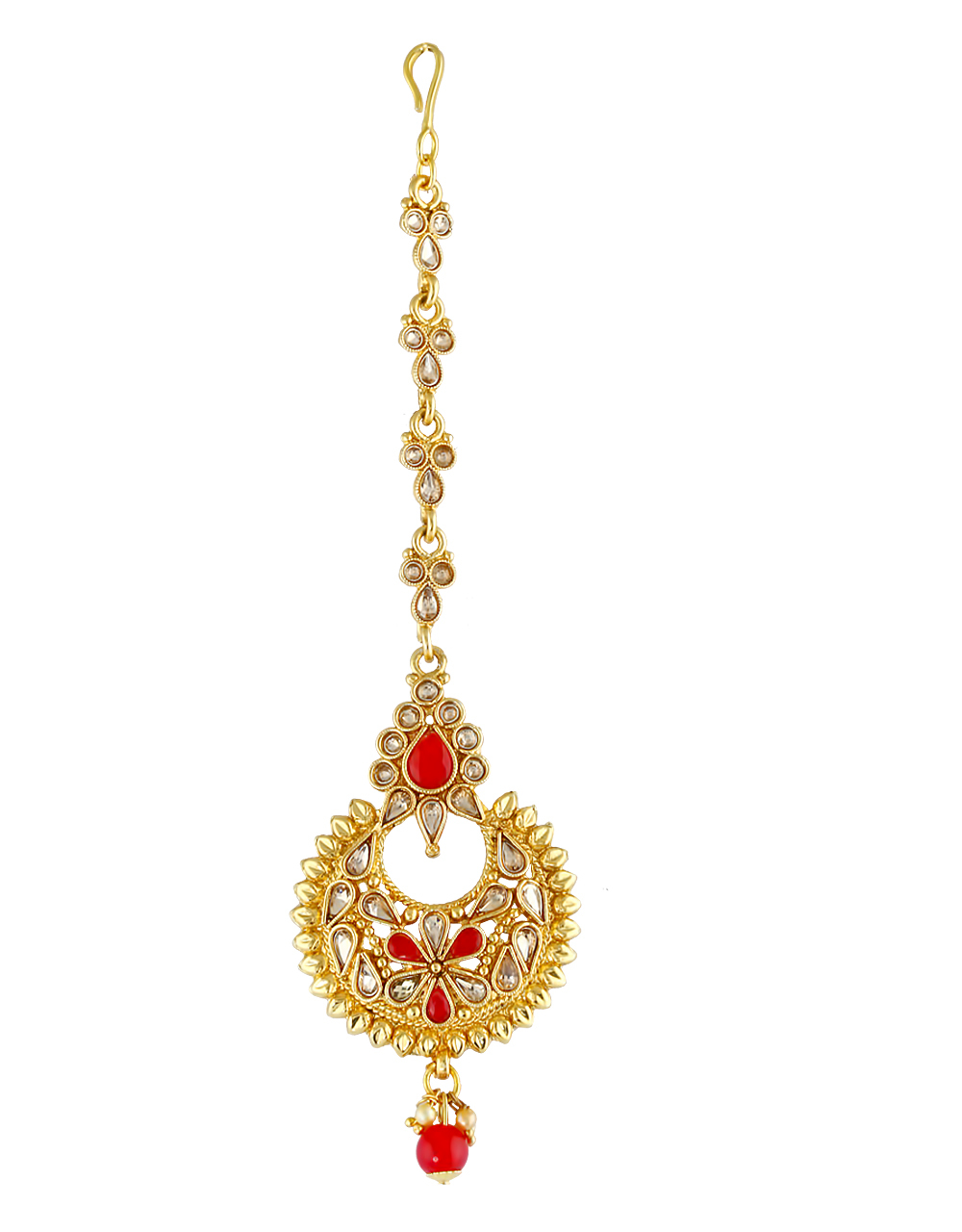 Red Colour Gold Finish Fancy Maang Tikka Jewellery