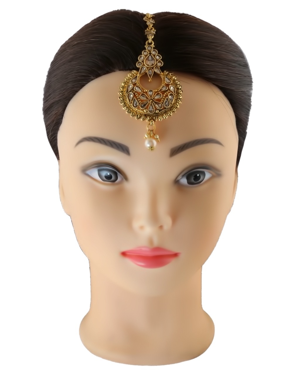 Peach Colour Gold Finish Traditional Maang Tikka For Girls