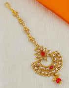 Red Colour Antique Gold Finish Tikka Fancy