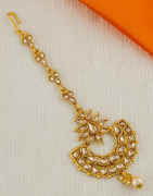 Designer Gold Finish Wedding Mang Tikka For Girls
