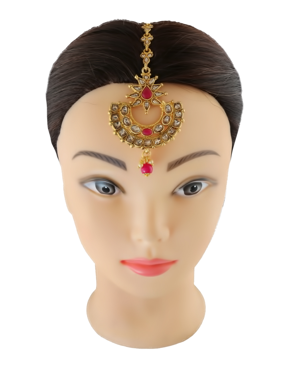 Pink Colour Gold Finish Fashionable Tikka Jewellery