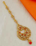 Red Colour Gold Finish Maang Tikka Accessories