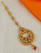 Red Colour Gold Finish Fancy Hair Accessories