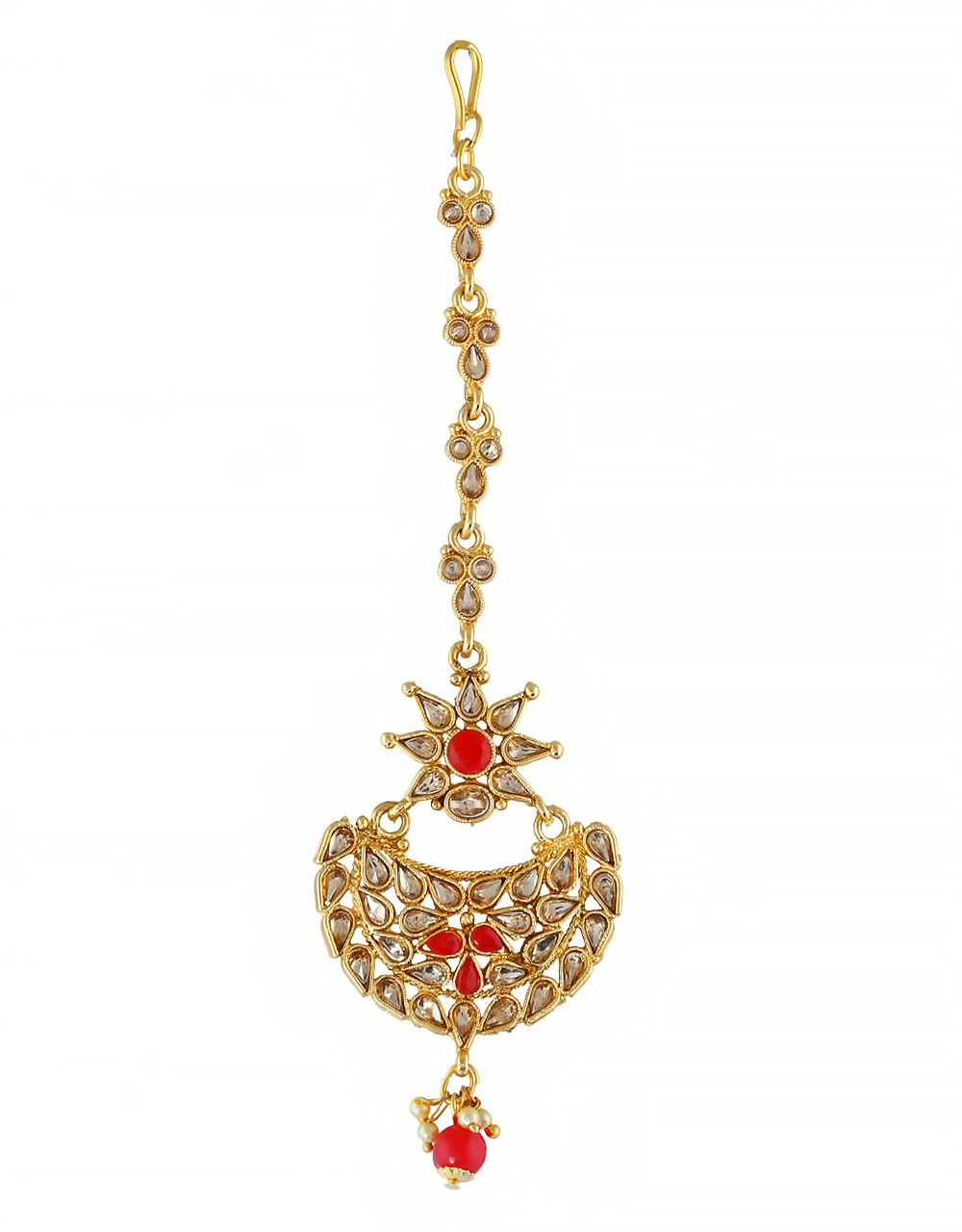 Red Colour Gold Finish Mang Tikka Jewellery