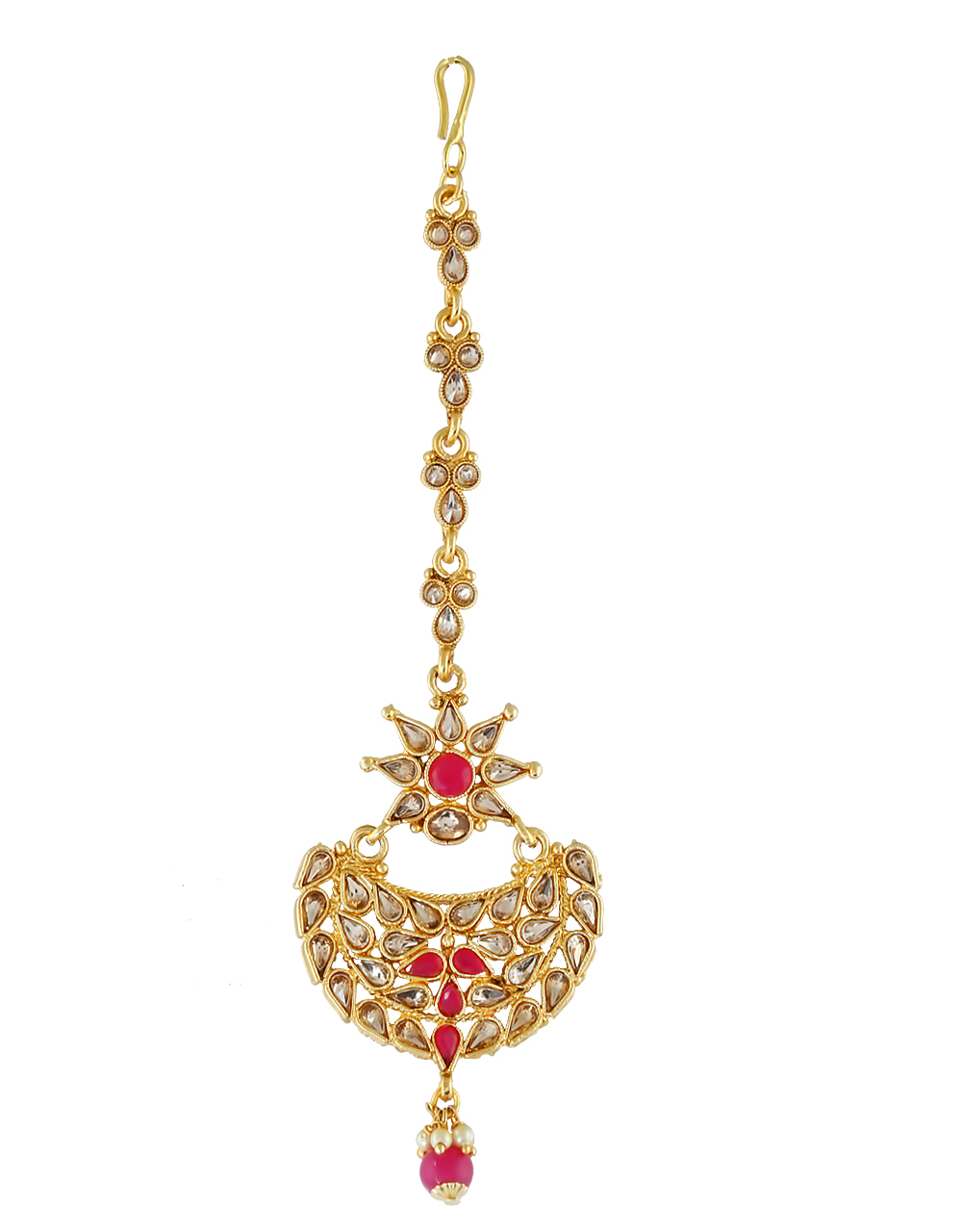 Pink Colour Gold Finish Traditional Fancy Mang Tikka