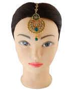 Green Colour Gold Finish Mang Tikka Jewellery