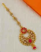 Red Colour Floral Design Mang Tika Fancy