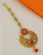 Red Colour Gold Finish Mang Tikka For Wedding