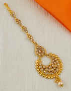 Designer Gold Finish Maang Tikka For Women