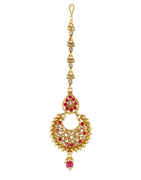 Pink Colour Gold Finish Traditional Jewellery Tikka