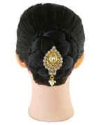 Gold Finish Designer Hair Brooch For Girls Fancy