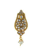 Antique Gold Finish Brooch Studded With Stones Brooch For Girls