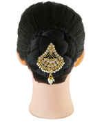 Antique Gold Finish Hair Pin Studded With Stones Hair Pin