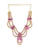 Pink Colour Styled With Beads Fancy Floral Necklace Jewellery For Girls