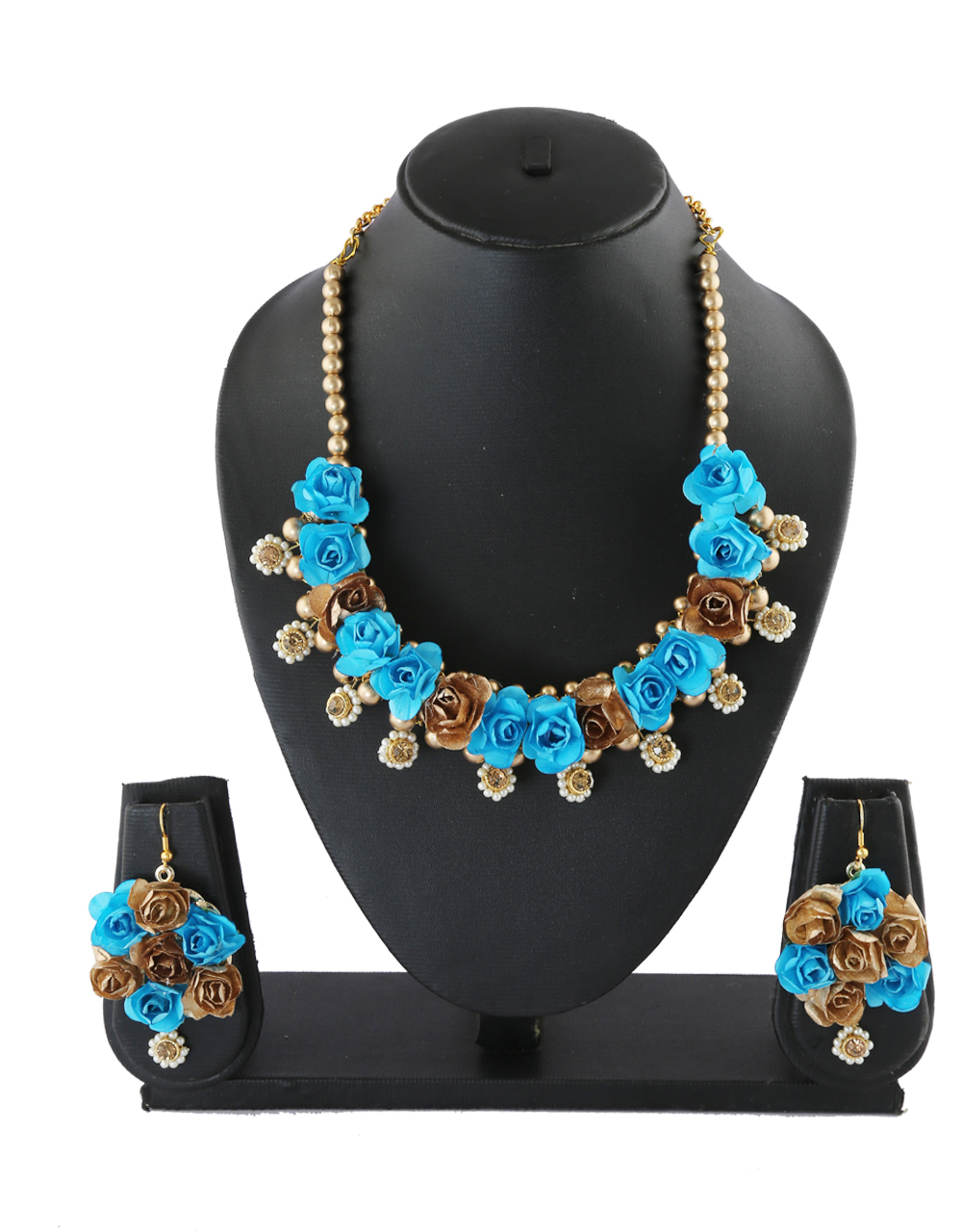 Turquiose Colour Fashionable Flower Jewellery For Bride