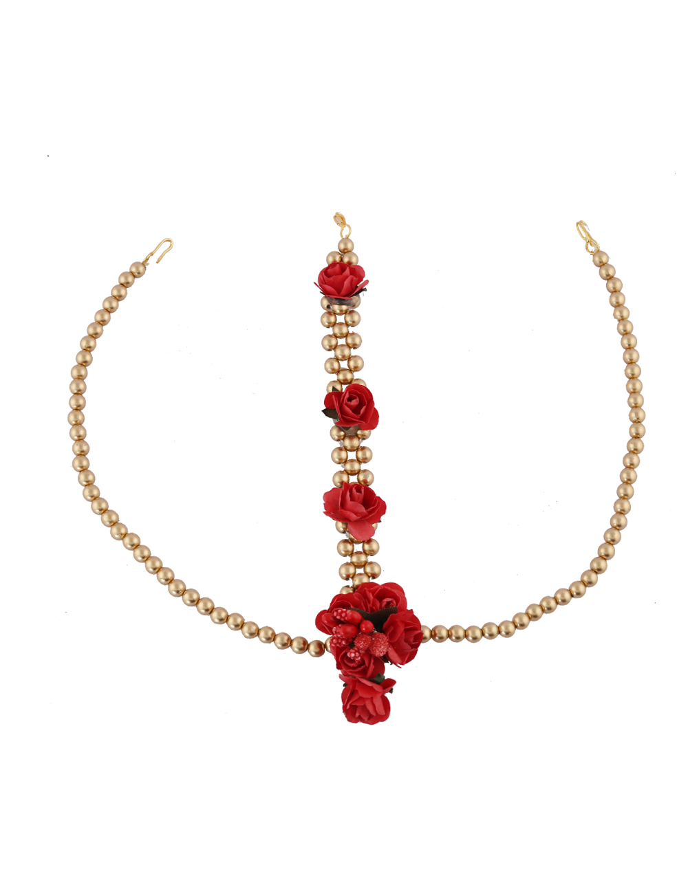 Red Colour Gold Finish Very Classy Flower Jewellery For Wedding