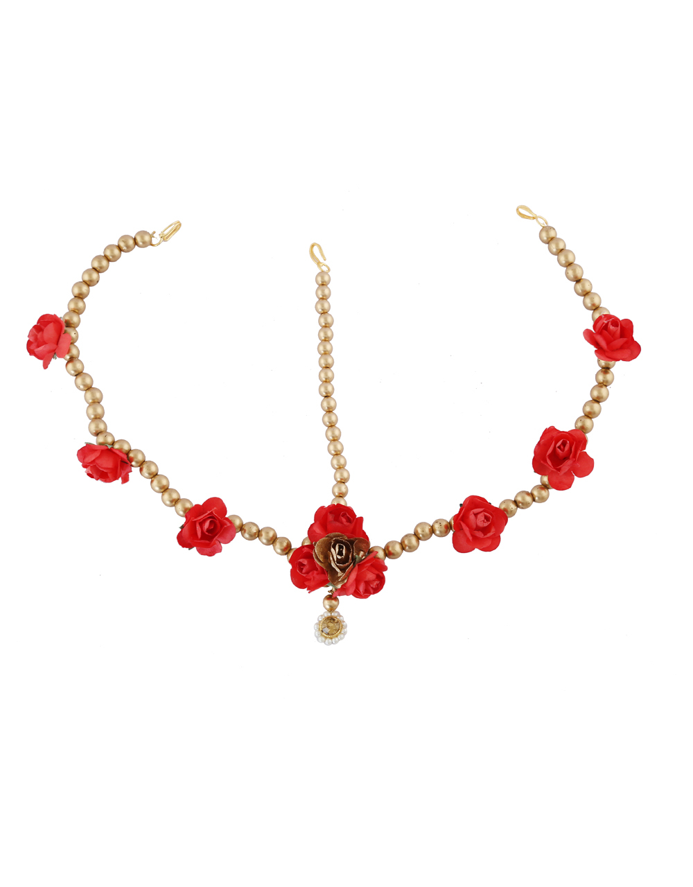 Red Colour Gold Tone Styled With Flower Mehandi Ceremony Jewellery