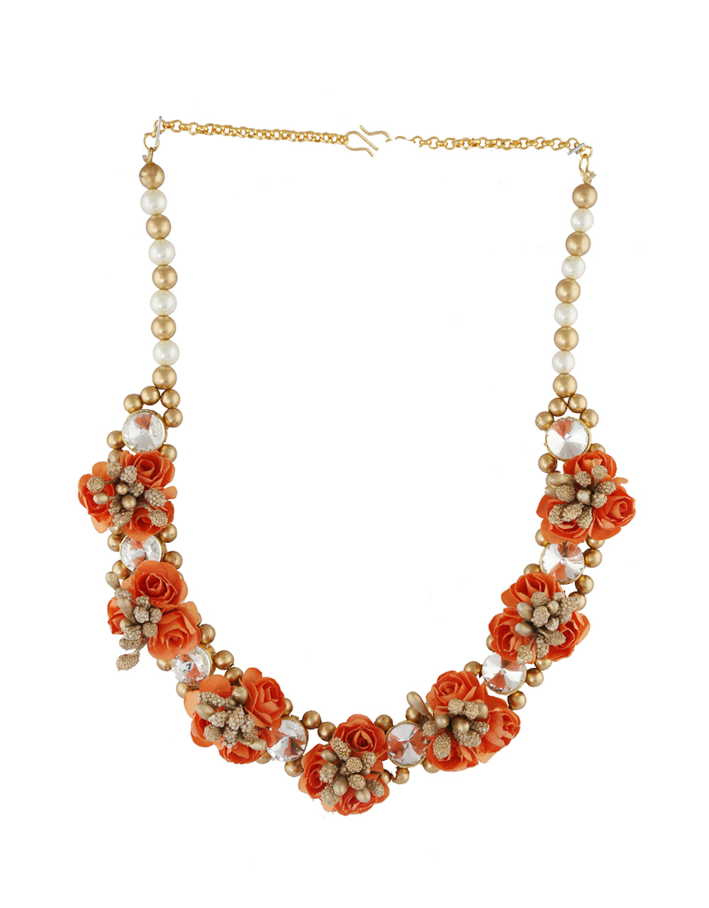 Orange Colour Gold Finish Moti Styled Floral Jewellery For Bride