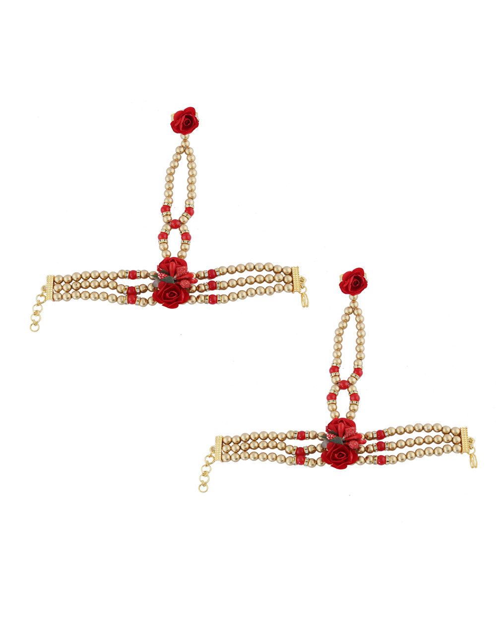 Red Colour Fancy Styled With Beads Flower Jewellery For Wedding