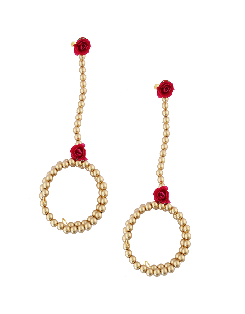 Red Colour Gold Finish Fashionable Floral Jewellery For Wedding