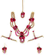 Pink Colour Handmade Flower Jewellery For Wedding