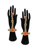 Orange Colour Gold Finish Haldiflower Jewellery For Women