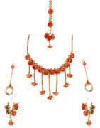 Orange Colour Designer Flower Jewellery For Wedding Fancy