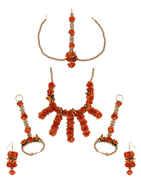 Designer Orange Colour Flower Jewellery Styled With Beads Jewellery