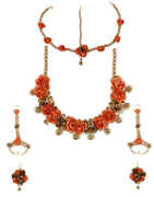 Orange Colour Adorable Flower Jewellery Set