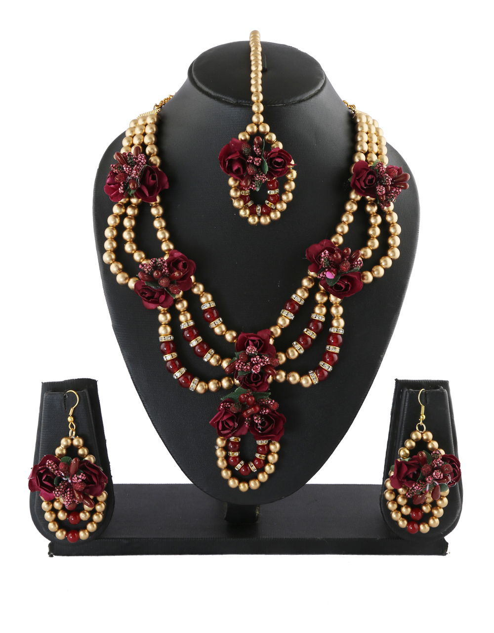 Gold Finish Maroon Colour Flower Jewellery For Wedding