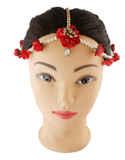 Red Colour Gold Finish Designer Floral Bride Jewellery For Girls Wedding