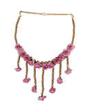 Pink Colour Gold Finish Beads Artificial Jewellery For Bride