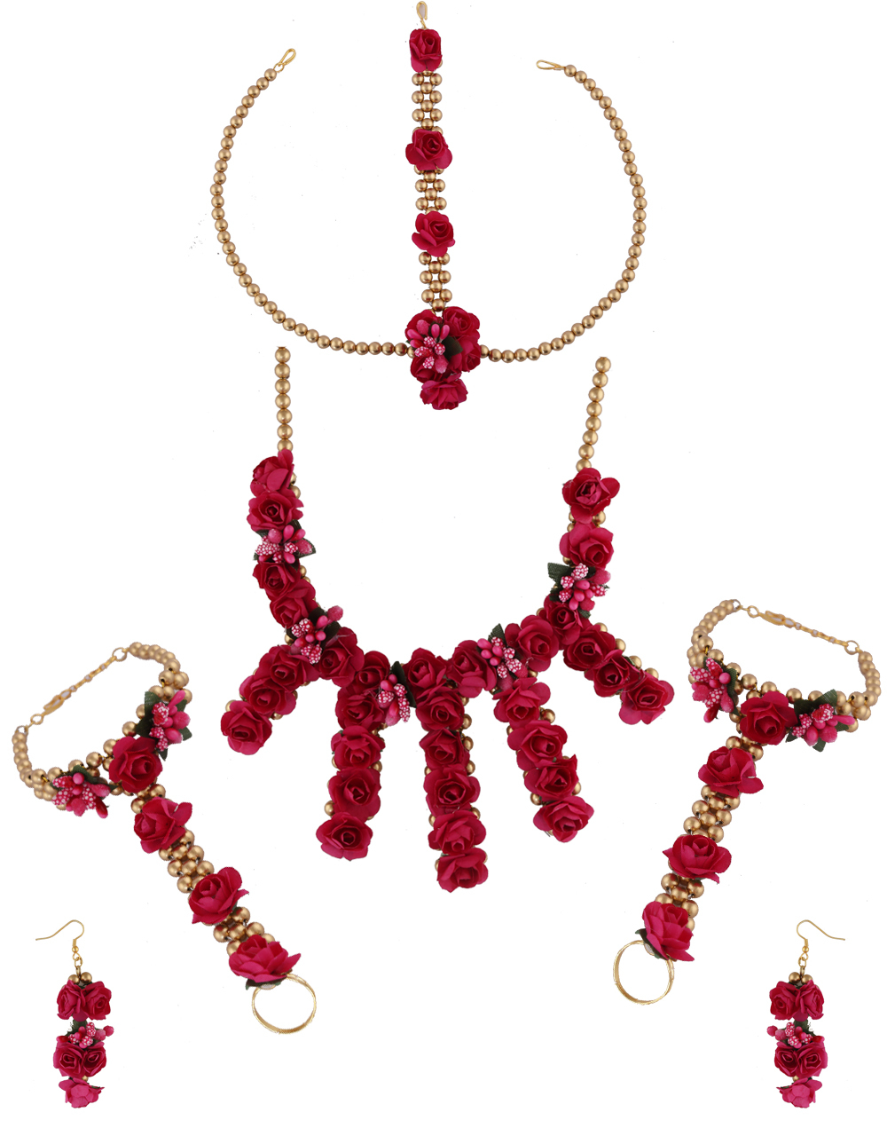 Red Colour Gold Finish Beads Jewellery Fancy