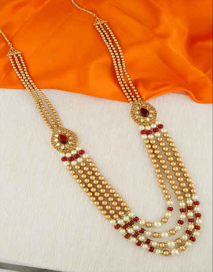 Gold Finish Maroon Colour Designer Groom Mala Fancy