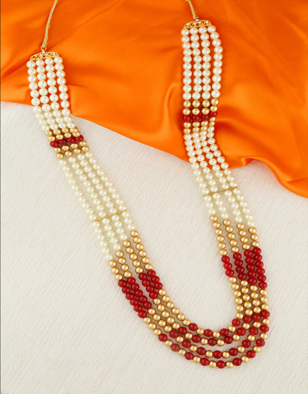 Red Colour Fancy Styled With Pearls Beads Dulha Mala