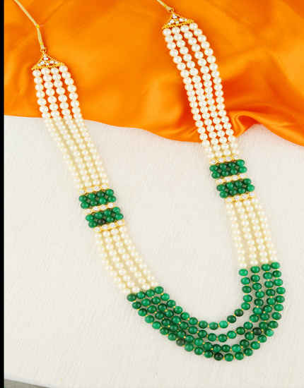 Green Colour Gold Finish Fashionable Groom Mala