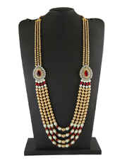 Gold Finish Stunning Groom Mala Styled With Pearls Beads Groom Necklace