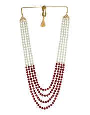 Maroon Colour Desiger Groom Jewellery For Wedding