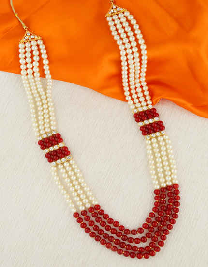 Red Colour Gold Finish Studded With Stones Dulha Necklace